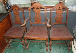 3 Dining Chair Statesville Antique For Restoration 2 Side And 1 Arm Chair 1940 ' S photo