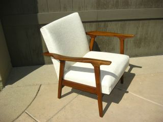 Vintage Danish Modern Walnut Chair Off White Vinyl Upholstery Mid Century Modern photo