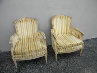 Pair Of French Painted Living Room Side By Side Chairs By Euster 2597 photo
