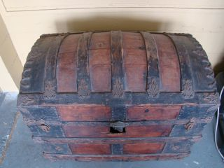 1875 Steamer Trunk Humpback Dome Wood Slats photo