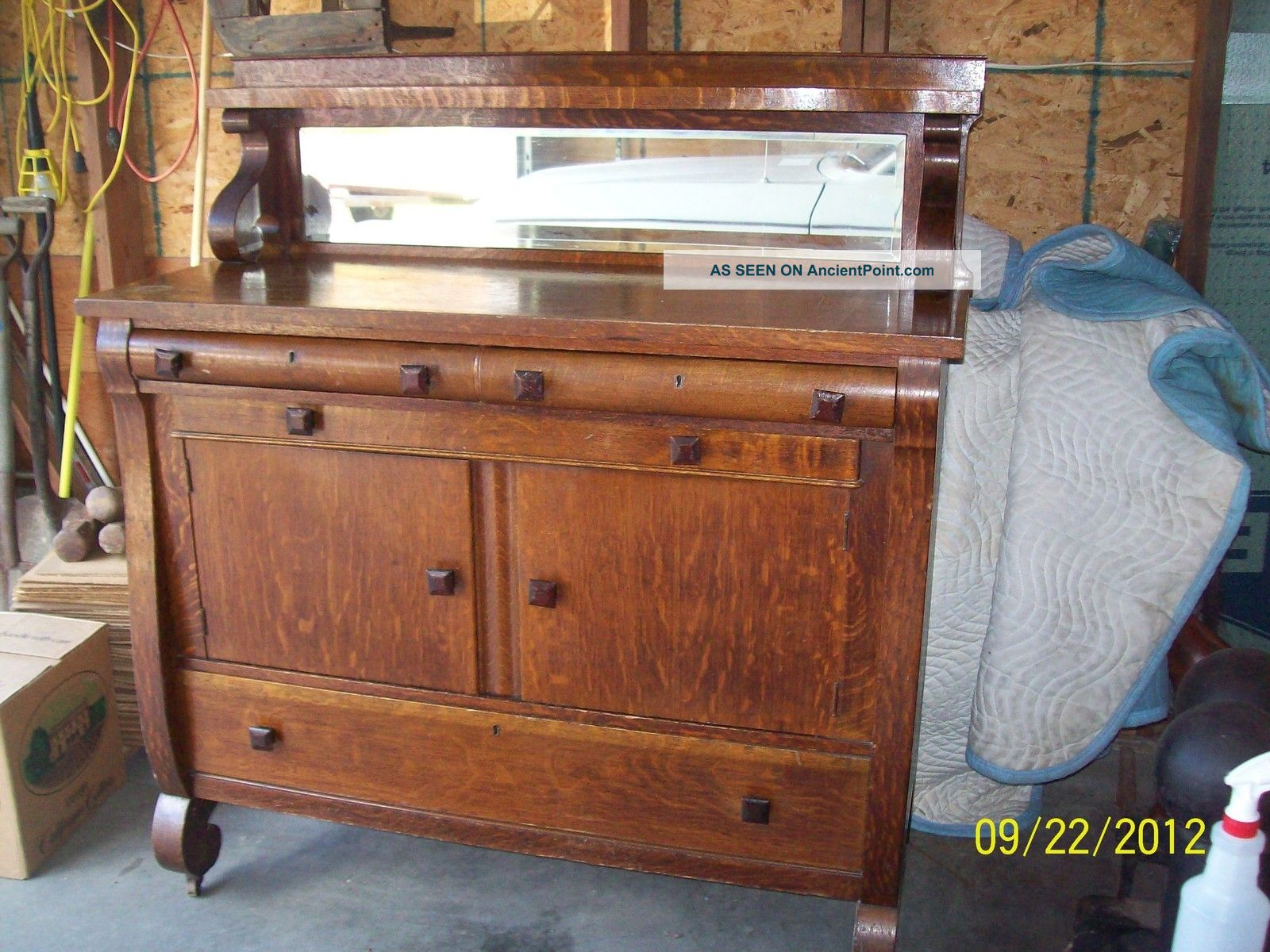 Antique Buffet With Mirror >> Antique Empire Style Oak Sideboard Server Buffet W Beveled Mirror