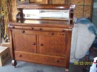 Antique Empire Style Oak Sideboard/server Buffet W/ Beveled Mirror photo