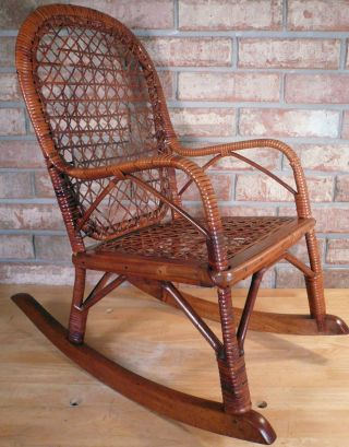 Antique Child ' S Rattan Rocking Chair W/ Caned Seat & Back Very Charming Vintage photo