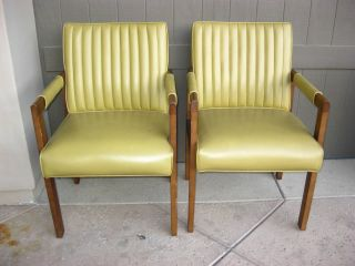 Pair Of Vintage Yellow Walnut Wood Mid Century Arm Chairs Hollywood Regency photo