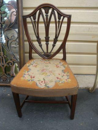 48488 Antique Mahogany Shield Back Side Chair photo