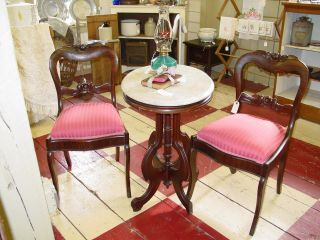 Antique Rosewood Victorian Side Chairs.  Pair Available photo