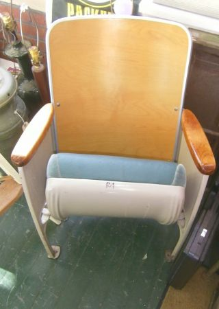 Vintage Retro Maple Wood & Cushioned Theater Movie Folding Chair Auditorium photo