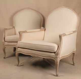 Pair Of Louis Xv Antique Style French White Painted Arm Chair Bergere Fauteuil photo