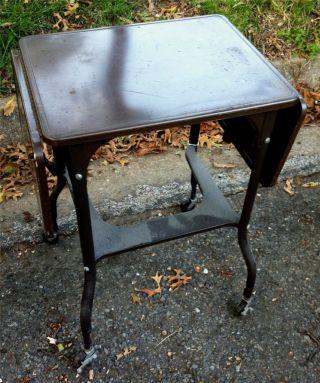 Vintage 1950 ' S Brown Metal Office Rolling Drop - Leaf Typewriter Desk Stand Table photo