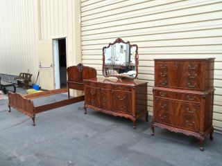 50323 Antique 3 Piece Mahogany Bedroom Set Bed Dresser Mirror Chest Quality photo