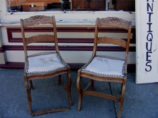 2 Old Solid Wood Armless Sitting Handcarved Roses Dining Chairs - Great Project photo