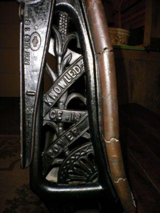 Antique 1876 Unique & Ornate Cast Iron 2 School Desk W Oak Slats + Two Sayings photo