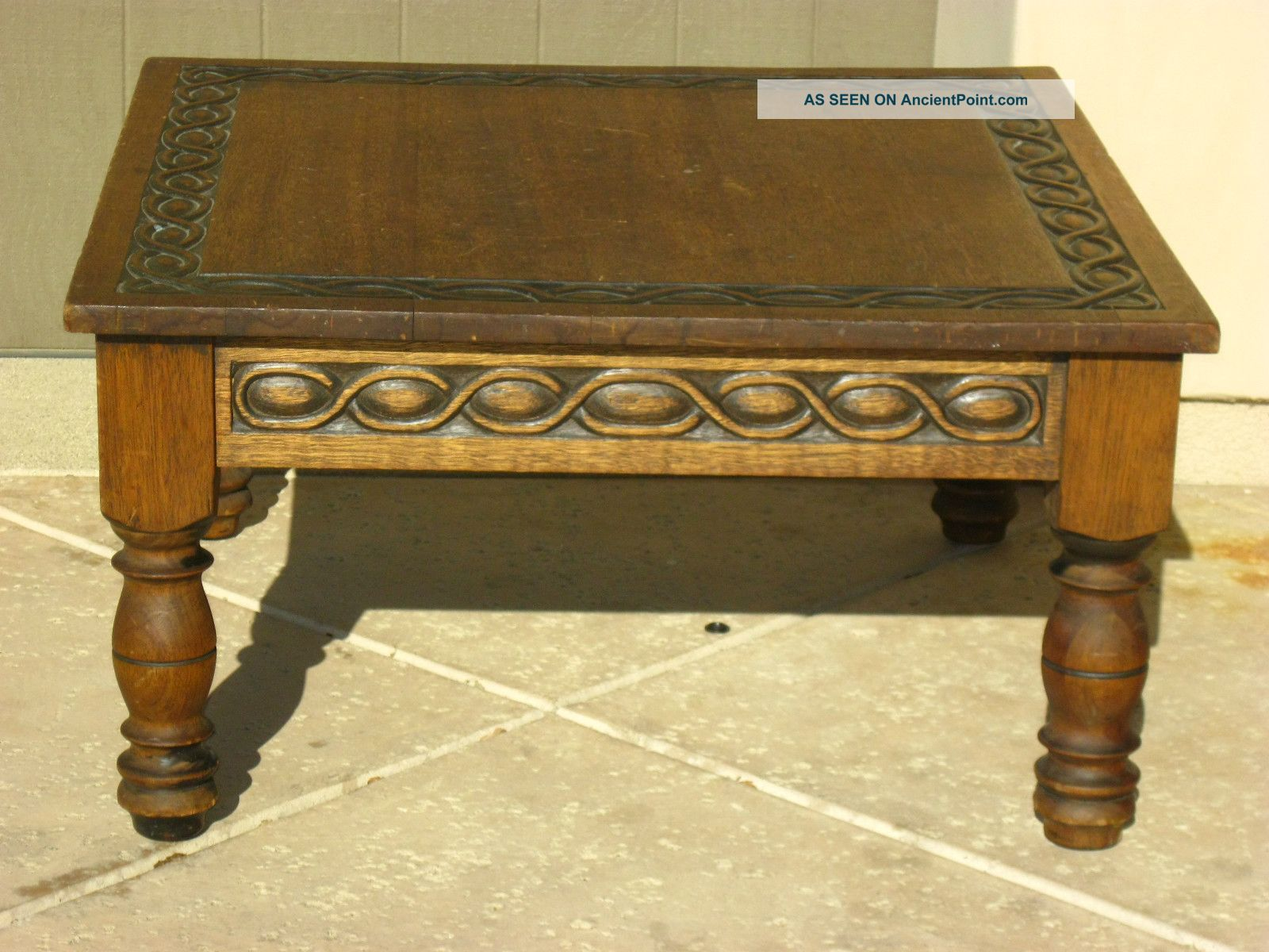 Vintage Spanish Style Coffee Table Mid Century Modern Carved Solid