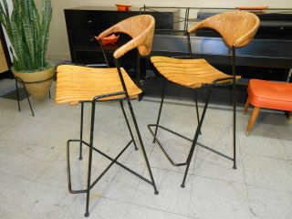 1950 ' S Arthur Umanoff Pair Mid Century Modern For Raymor Stools - Just Terrific photo