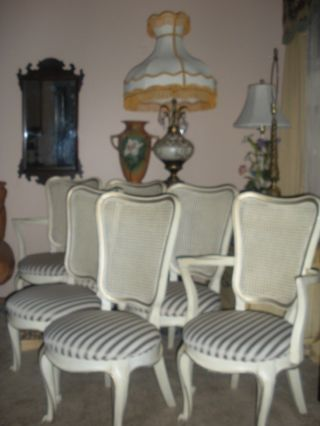 French Style White Shabby Dining Chairs Upholstered Round Seats Set 6 White Co. photo