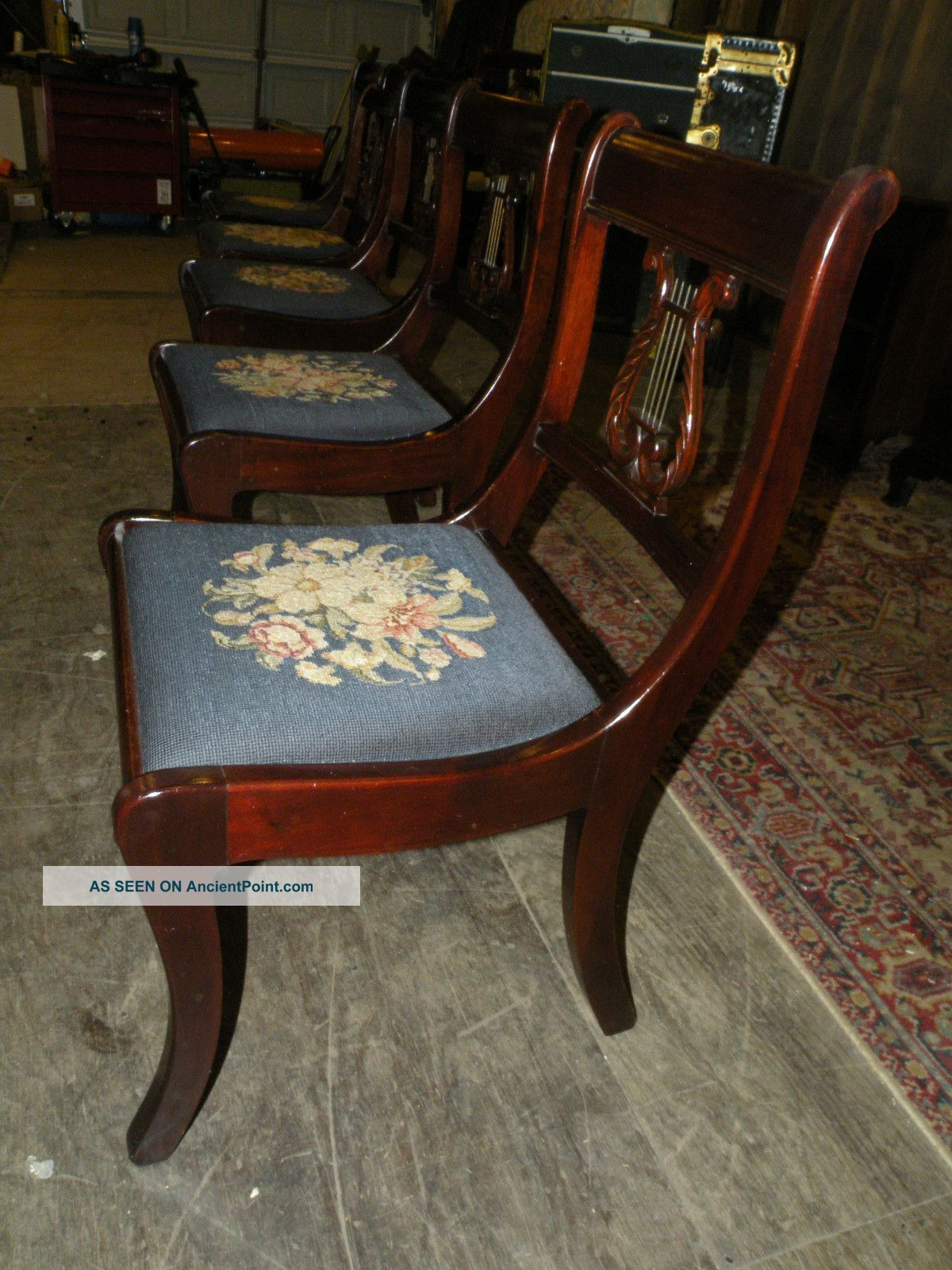 Terrific Regency Style Mahogany Dining Chairs Set Of 4 Antique Circa 1940 Ncnpc Chair Design For Home Ncnpcorg