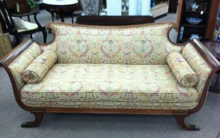 Elegant Antique Oak Duncan Phyfe Style Sofa Circa Early 20th Century photo