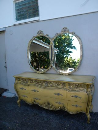 Long French Bombay Painted Silver Leaf Dresser With Mirror By Romweber 2759 photo