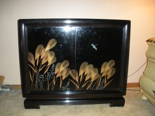 Bernhardt Black Lacquer Entry Chest Cabinet Decorator Three Drawer W/ Mirror photo