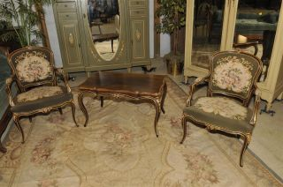 French Needlepoint Arm Chairs With Matching Coffee Table photo