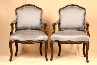 Pair Of Antique 20th Century Louis Xv Style Carved Painted Fauteuil Arm Chairs photo
