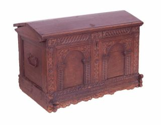 1705 German Chip Carved Oak Wedding Trunk Blanket Chest photo