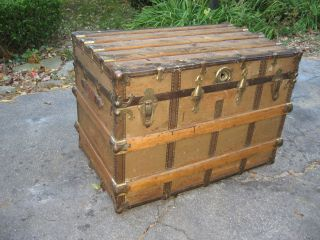 Antique Steamer Trunk 1800s Stage Coach Chest Coffee Table photo