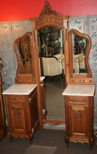 Antique Carved Golden Oak Marble Top Triple Dressing Mirror Vanity Victorian photo