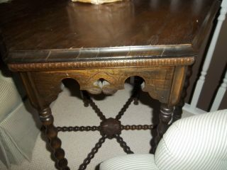 Vintage Wood Hexagonal 6 Sided Accent End Side Table Great Detail photo