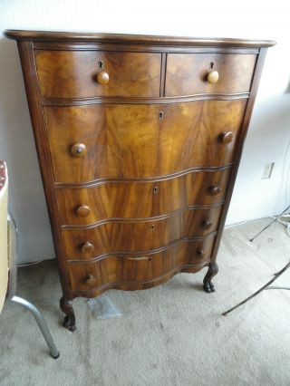 Serpentine Front Flame Mahogany High Boy Dresser W/ Claw Feet photo