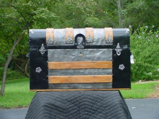 Antique Trunk With Tray & Restoration Rare Style photo