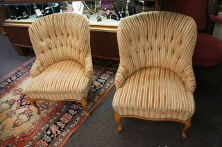 Set Of Two Vintage French Country Chairs Pink Green Cabriole Leg 1960s Ships photo