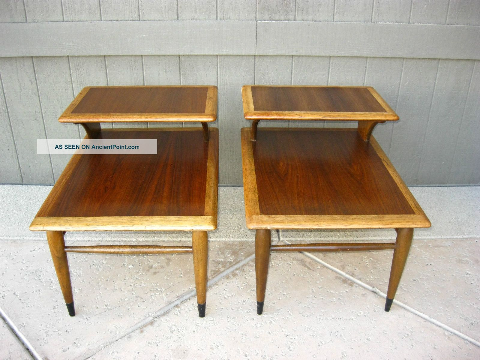Picture of: Set Otwo Vintage Mid Century Modern Danish Teak Coffee End Tables W Top Inlay