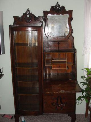 Side - By - Side Secretary,  Desk,  Wood, ,  Beveled Mirror,  Lamp Shelf,  Old photo
