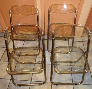 4 Vintage Mid Century Retro Lucite And Brass Plated Kicthen Chairs photo