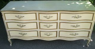 Shabby ' N Chic Henredon Furn.  Co.  Painted Country French Low Chest / Dresser photo