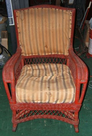Antique 1930 - 50s Arts & Crafts Rocker Wicker Rocking Chair photo