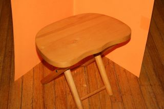 Vintage Nevco Wooden/wood Fold N ' Carry Stool,  Seamstress/milking,  Yugoslavia photo