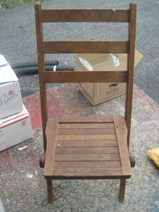Vintage Wooden Folding Chairs Theater Chairs Church Assembly Chairs 2 photo