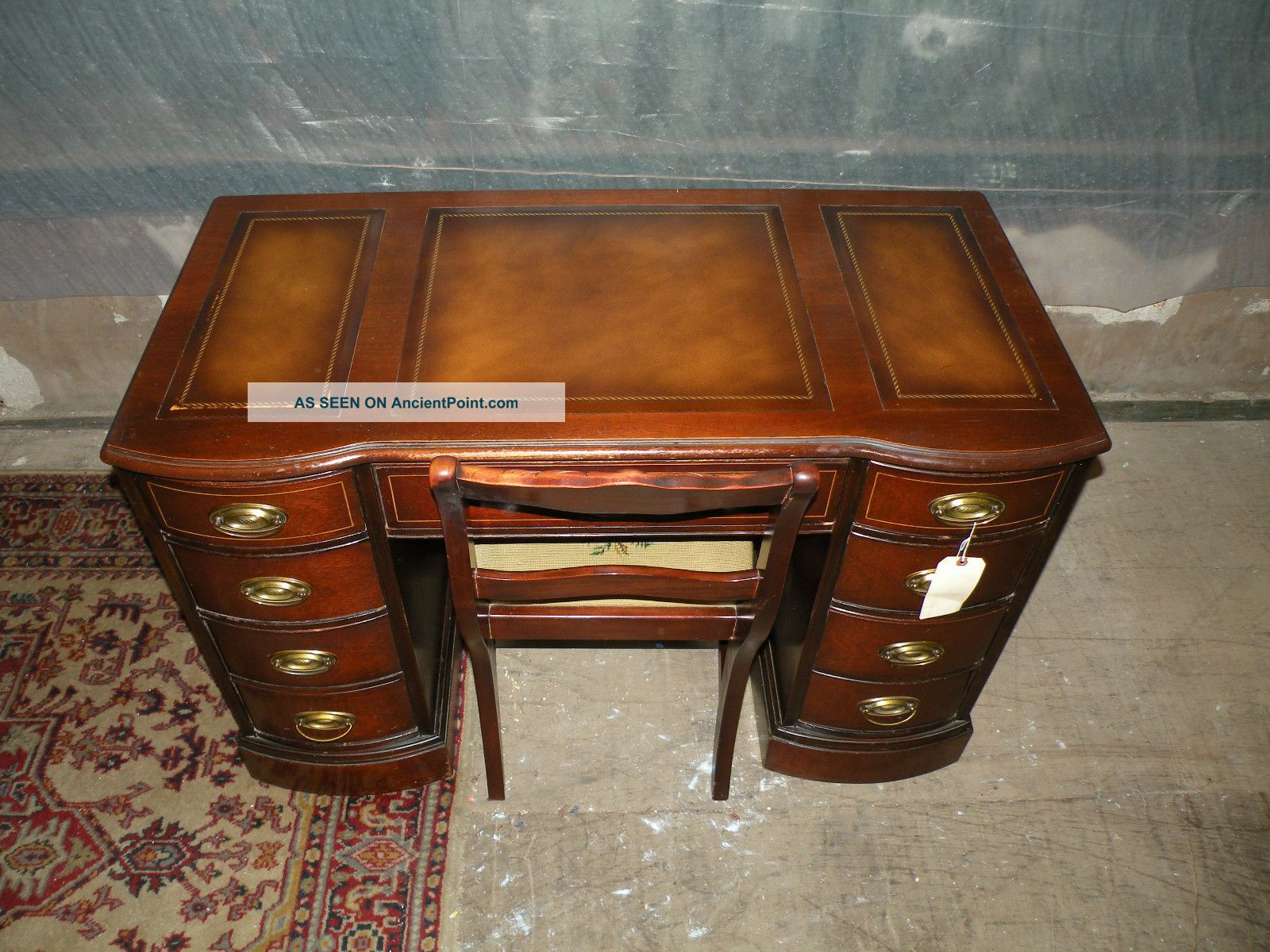Antique Leather Top Mahogany Kneehole Desk With Needlepoint Chair