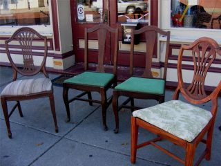 4 Vintage Mahogany Wood Armless Dining Chairs - Needs Tlc Reduced To Sell photo