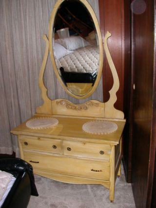 Vintage / Antique Dresser With Tall Mirror.  Circa 1900 photo
