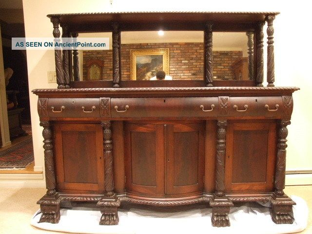 Antique 1880 (c) Mahogany American Neo Classical Sideboard Stunning 1800-1899 photo