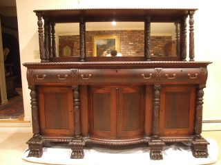 Antique 1880 (c) Mahogany American Neo Classical Sideboard Stunning photo
