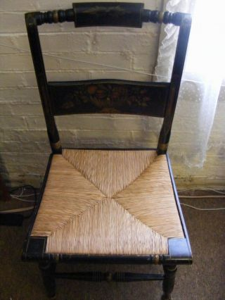 Vintage Handpainted Hitchcock Wood Black Chair Ca 1950 1960 W / Woven Cane Seat photo