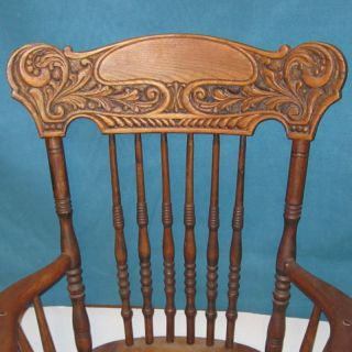 Exceptional Victorian Carved Oak Pressback Office Chair Top W/arms - Must See photo