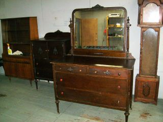 Antique Wood Vanity Big Mirror & Drawers photo