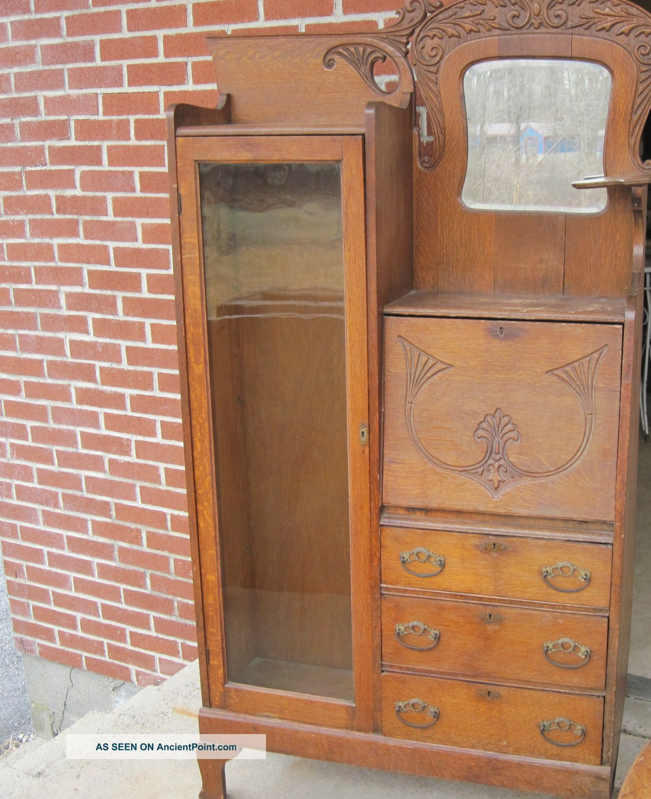 Antique Side By Side Golden Oak Cabinet Secretary Desk 1800-1899 photo
