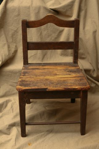 Antique Primitive Woodenware Childs Doll Chair photo