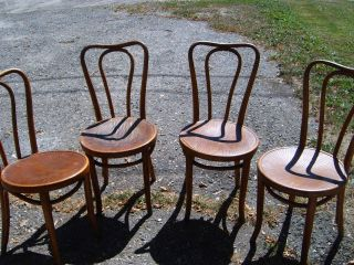 Antique Bentwood Ice Cream Chairs (4) photo